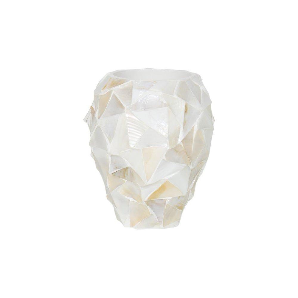 Дизайнерска саксия ваза shell white