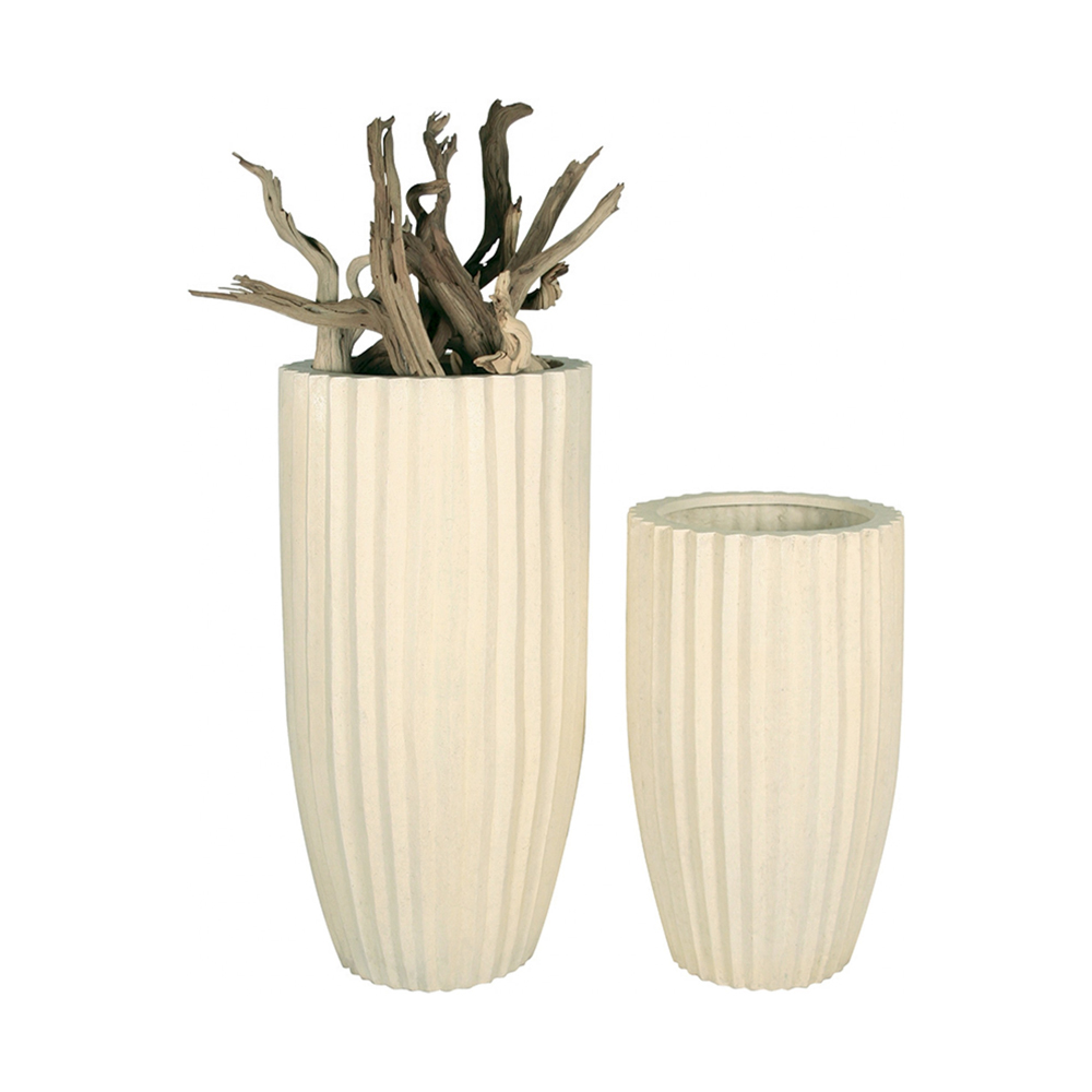 Дизайнерска висока саксия sahara white set