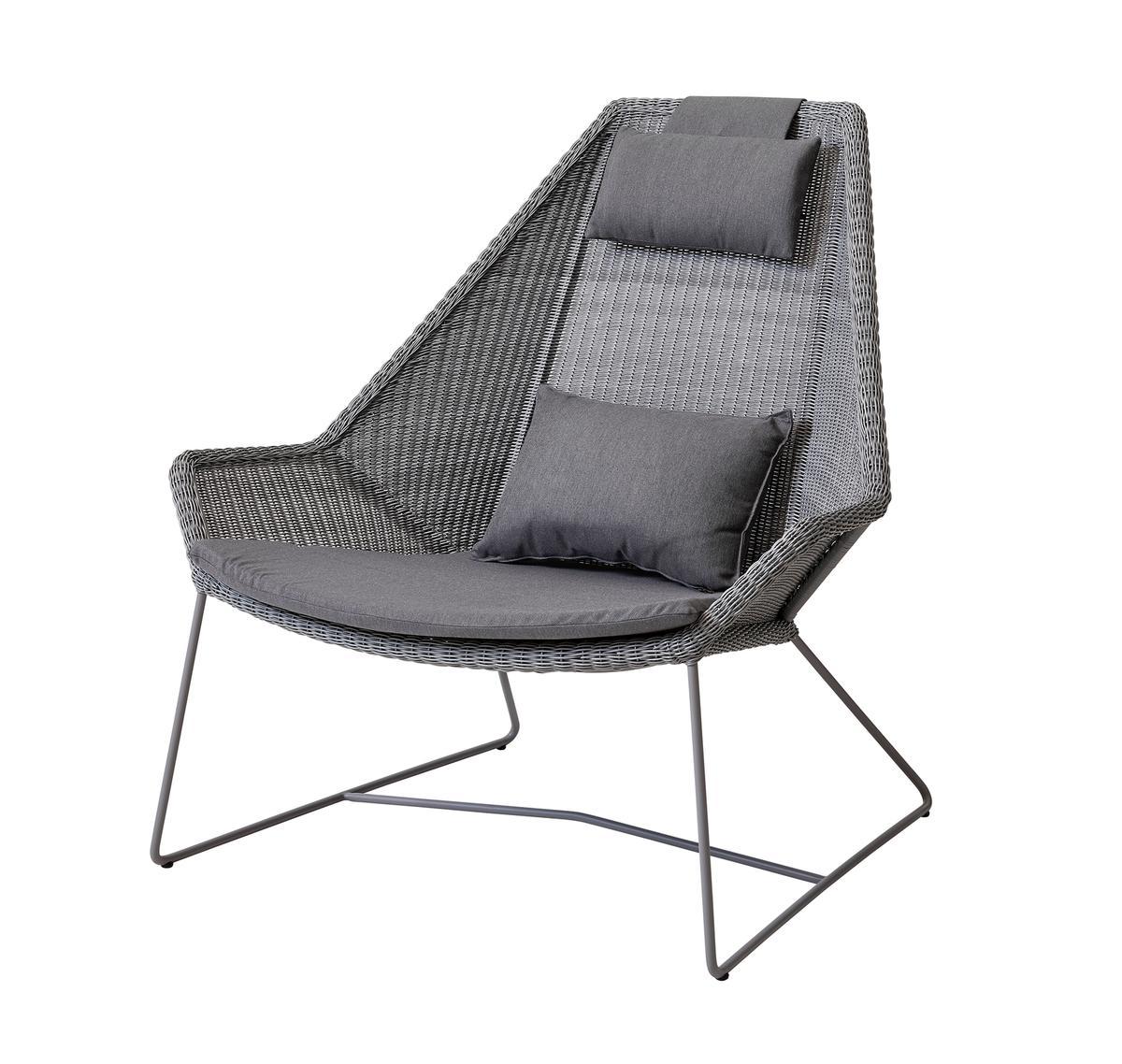 Градинско кресло с висока облегалка Breeze - сива възглавница