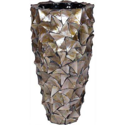 Дизайнерска висока саксия с мидени черупки от navun.bg