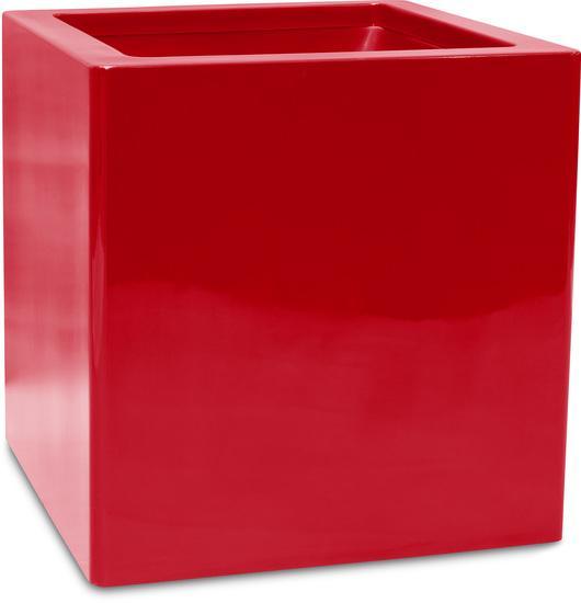 Квадратна саксия Cubus, червена