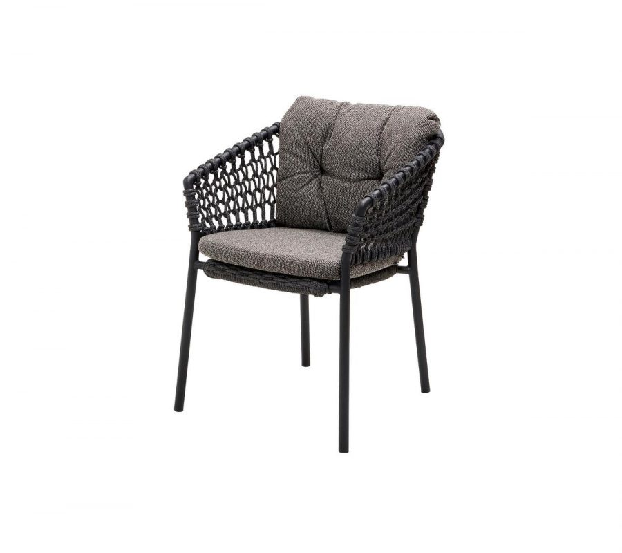 Градински стол Ocean, сив с възглавниви тъмно сиво