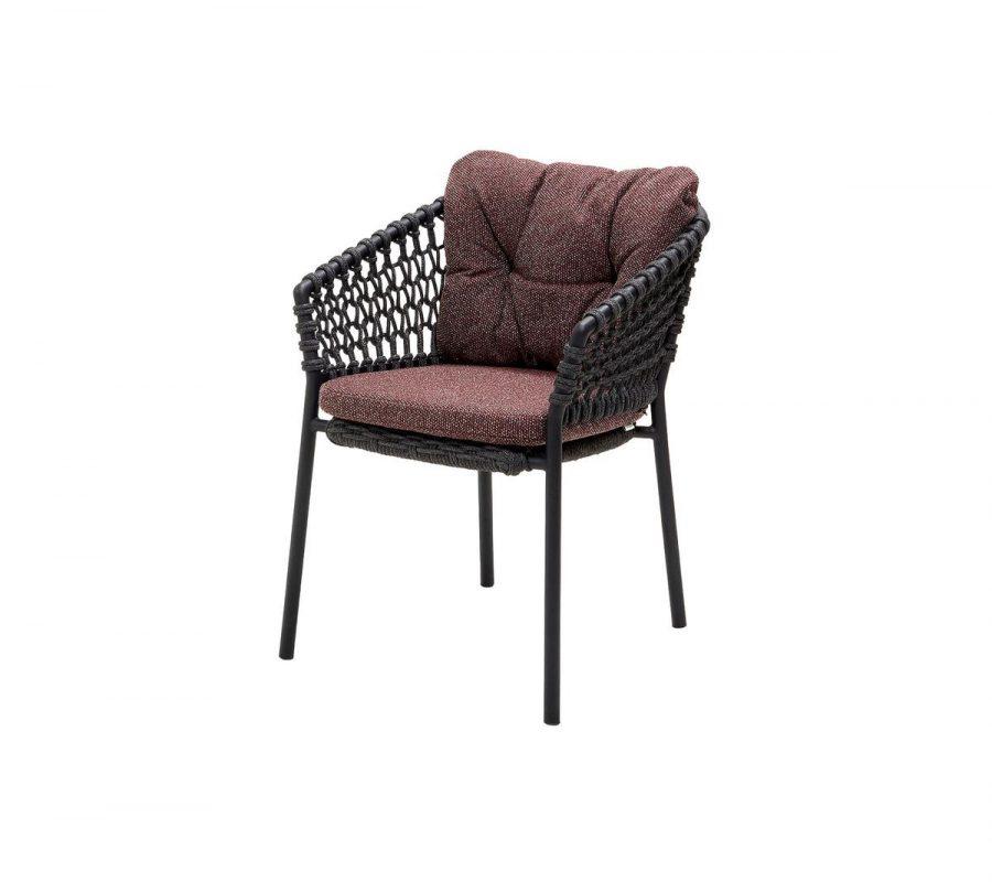 Градински стол Ocean, тъмно сив с възглавници бордо