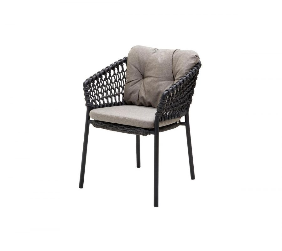 Градински стол Ocean, тъмно сив с възглавници таупе