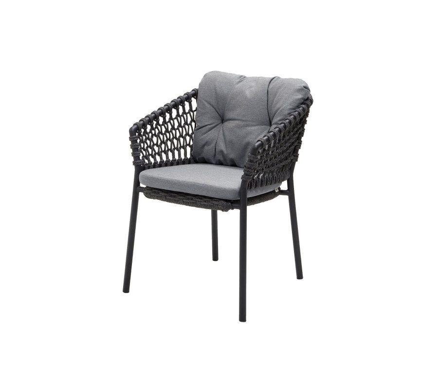 Градински стол Ocean, тъмно сив с възглавници сиви