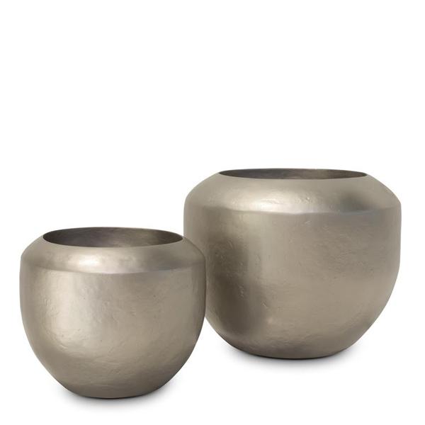 Дизайнерска саксия купа Loft, шампанско злато