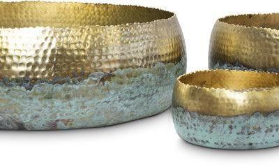Дизайнерска купа Hoop, злато и патина