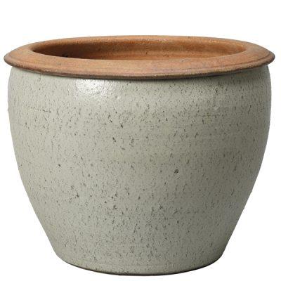 Глазирана керамична саксия Sand, бяла