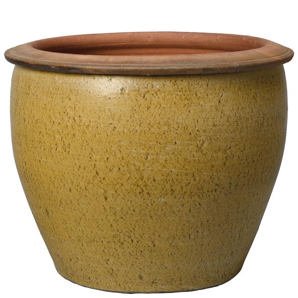 Глазирана керамична саксия Sand, горчица