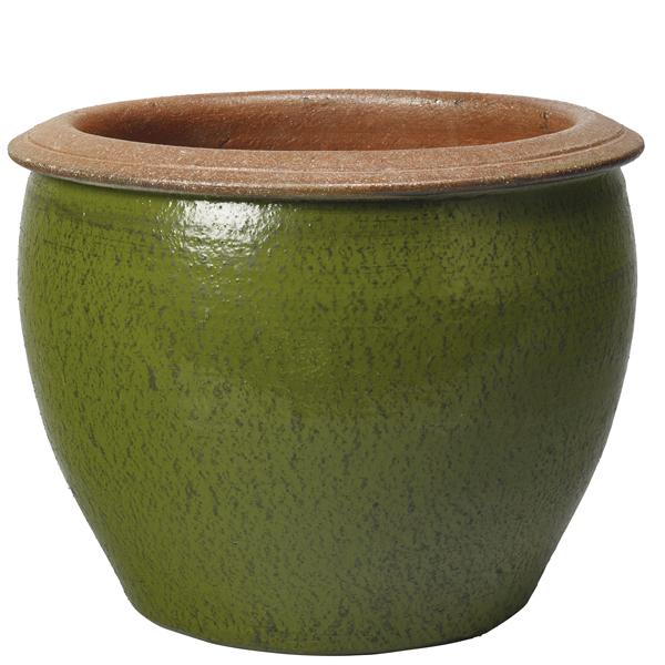 Глазирана керамична саксия Sand, зелена