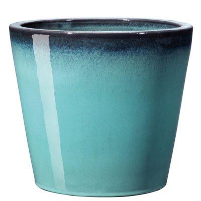 Глазирана керамична саксия конус Azulis, aqua
