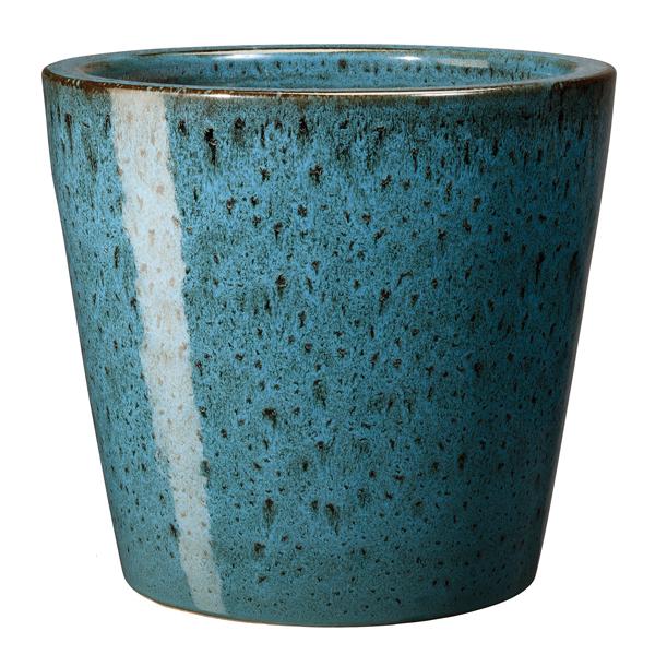 Глазирана керамична саксия конус Azulis, синя