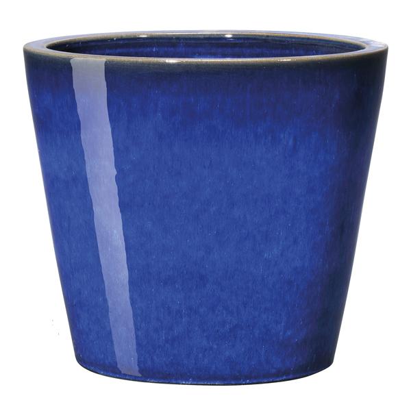 Глазирани саксии конус Azulis, тъмно синя
