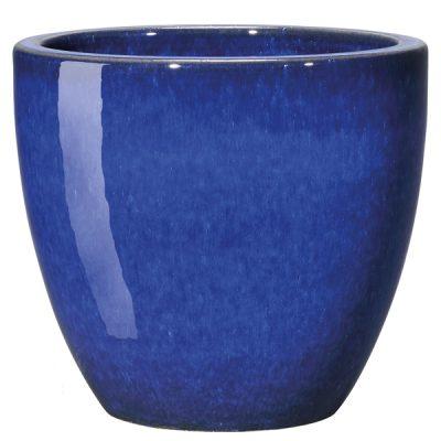 Глазирана керамична саксия Azulis, тъмно синя