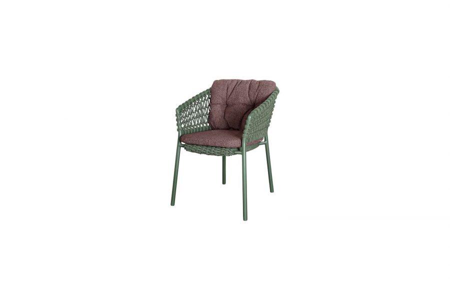 Градински стол Ocean, зелен, възглавница бордо