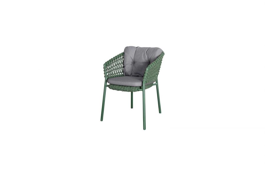 Градински стол Ocean, зелен, възглавница сива