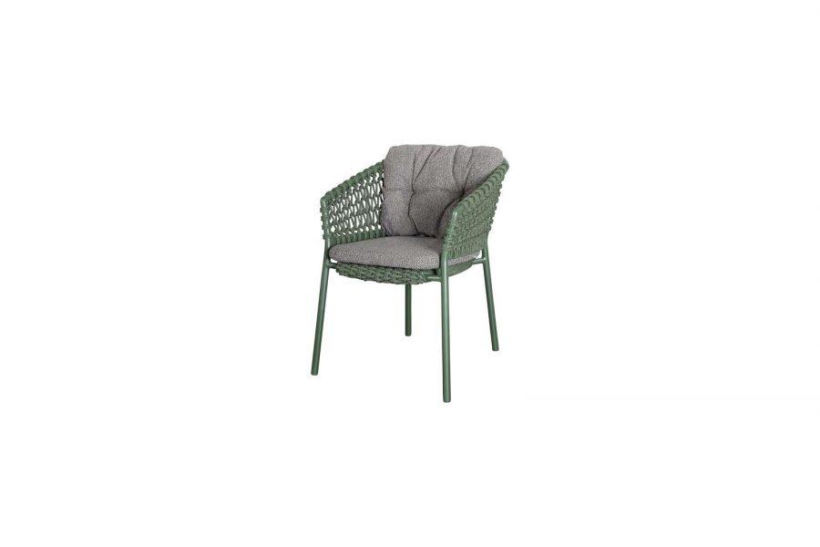 Градински стол Ocean, зелен, възглавница тъмно сива