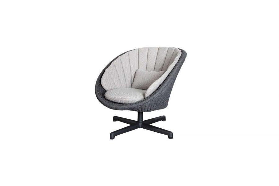 Градинско въртящо кресло Peacock, светло сива възглавница