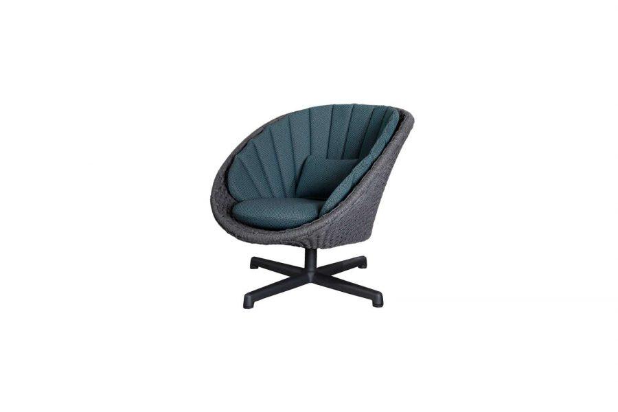 Градинско въртящо кресло Peacock, тъмно синя възглавница