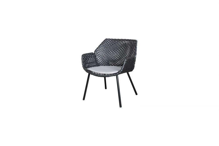 Градинско кресло Vibe, черен, светло сива възглавница