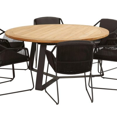 Градинска маса Basso, кръгла, столове Accor