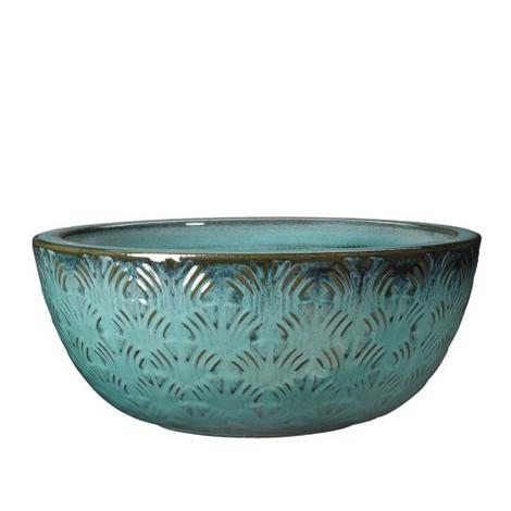 Глазирана керамична ниска саксия Gingko, синя