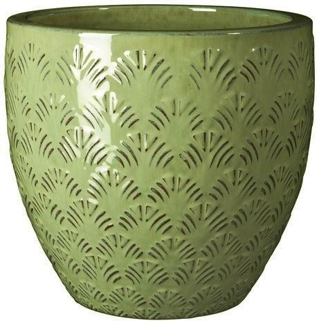 Глазирана керамична саксия GINGKO, зелена