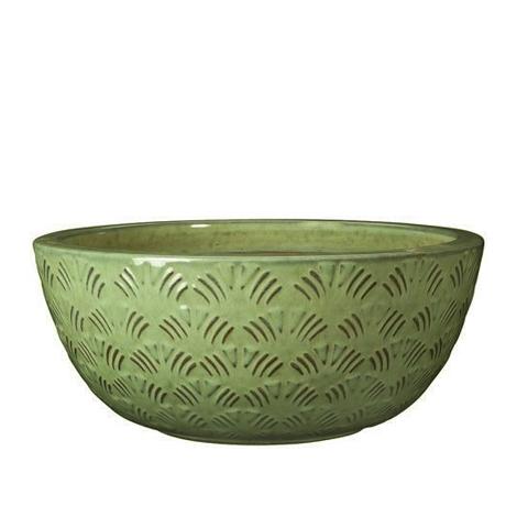 Глазирана керамична саксия GINGKO, ниска, зелена
